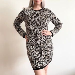 Cynthia Rowley Animal Print Sweater Dress